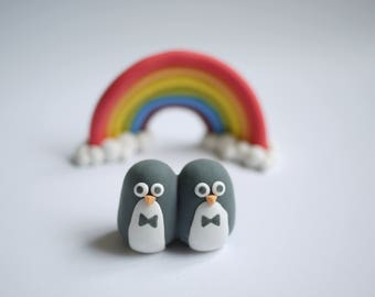 Penguin Gay Wedding Cake Topper (With or Without Rainbow)