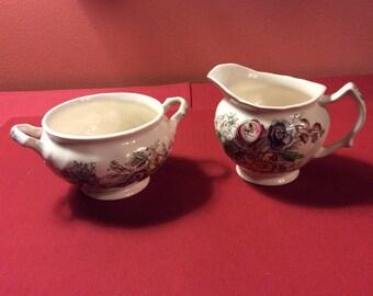 Vintage Porcelain Cream & Sugar Set Made in England - Flowers