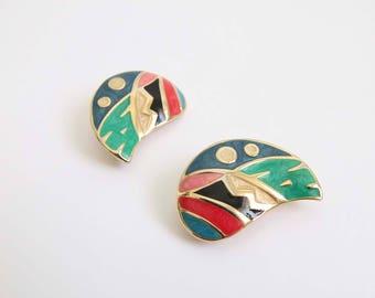 VINTAGE Earrings 1990s Colorful Enamel Metal Clip Ons