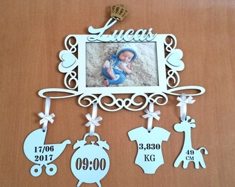 Personalized picture frame with baby birth details