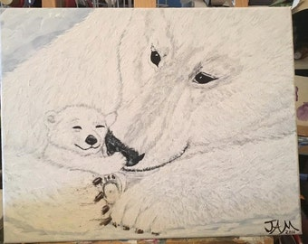 Polar Love - Acrylic Canvas Painting