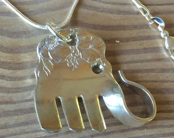Vintage Silver Fork Silverware Elephant 925 Necklace lot 958