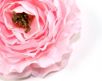 Ruffle Ranunculus in Pastel Pink - 4 inches -  Silk Flower, artificial flower, millinery - ITEM 0190