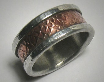 Rustic Mens Wedding band Promise Ring Hammered Ring Copper Silver Mens wedding Ring Unique Mens Ring Rustic Ring