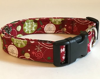 Jolly snowflakes print dog collar - you choose the size