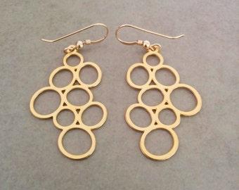 Gold Circle Earrings, Gold Earrings, Circle Earrings, Minimalist Earrings, Simple Gold Earrings, Drop Earrings, Jewelry, Dangle Earrings