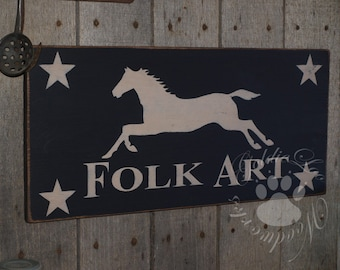 Folk Art, Horse, Chalkboard Art,  Primitive Wood Wall Sign