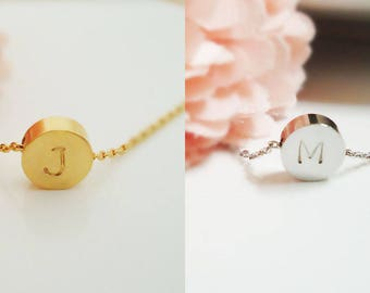 418. Disk Pendant Necklace,Dot Charm, Circle initial pendant Necklace, Personalized initial Necklace, Round Monogram Hand Stamped Necklace