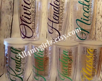 Set of 7 Personalized Tumbler 16oz Double Wall Monogrammed Custom Tumblers Bride Wedding Sippy Lid Bride Maid of Honor