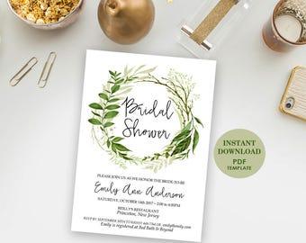 4x6 Editable Bridal Shower Invitation, Printable Template (Emily), Instant Download, Editable Text, Greenery, Garden Foliage Wreath Invite