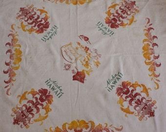 Vintage HAWAII State Tablecloth Bridge Cloth Damask