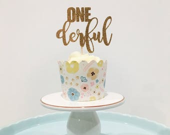 12ct one wonderful cupcake toppers, first birthday cupcake toppers, birthday cupcake toppers