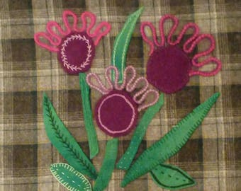 wool applique/hand embroidered thistle cushion