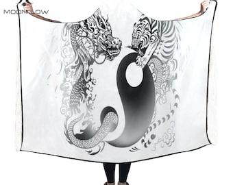 Yin Yang Sacred Geometry Clothing Hooded Blanket Hooded Cape Techno Clothing Burning Man Clothing EDC Outfits Rave Clothing Rave Clothes EDM