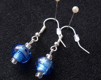 Blue Glass Striped Earrings