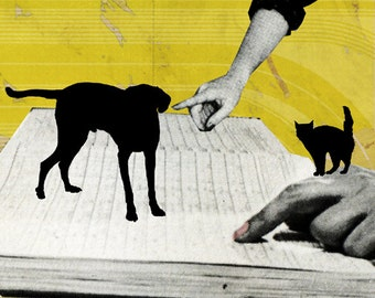 Cat and Dog - Giclee print on A5..