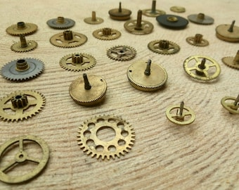 Set of brass gears