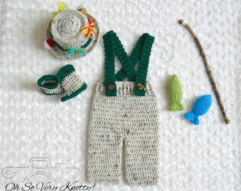 Handmade Crochet Baby Fishing Fisherman 5 pc. Set, Pants with Suspenders, Boots, Hat, Fish, Fishing pole Newborn, 0-3, 3-6 Photography Prop