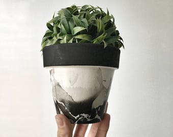 MARBLED: dipped grey marble pot / black marble pot | terracotta planter | clay pot | pottery planter