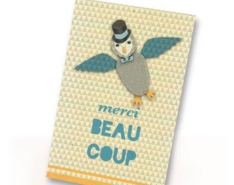 French Printable PDF Merci Thank You Dapper Owl Card Instant Download Blue, White, Yellow, Fun, Cute, Clever
