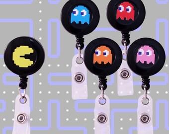 Nom Nom Nom...Retro Game Designed Badge Reels- Set of 5