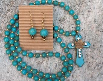 cross necklace & earrings long beaded necklace turquoise blue stone bohemian custom length women's necklace blue stone beaded necklace set