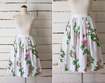 english rose skirt // vintage 1950s cotton skirt