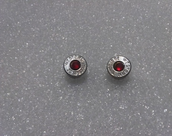 Earring Studs created from .38 Special Bullet Shells Accented with Red Crystals