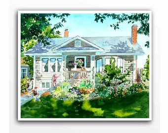 Original Commissioned Painting of your house Custom house Watercolor house art Customized landscape Unique gift Watercolor from photos LG