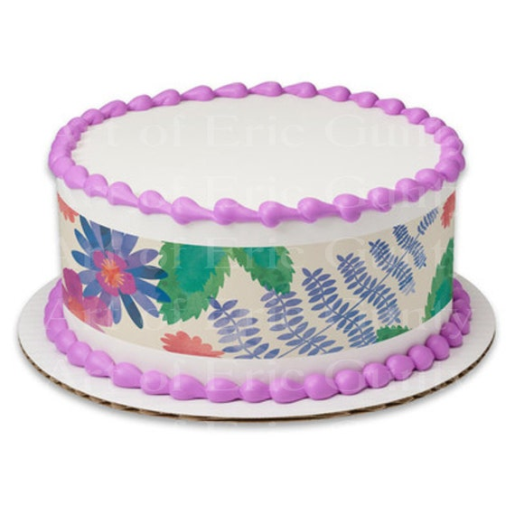 Pastel Easter Flowers - Designer Strips - Edible Cake Side Toppers- Decorate The Sides of Your Cake! - D22048