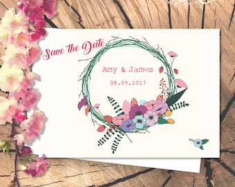 Save the Date Floral Wreath Card