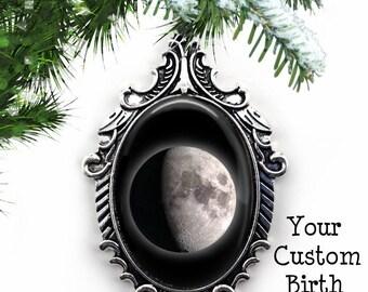 Your Custom Birth Moon Christmas Ornament - Personalized Lunar Moon Phase Tree Ornament - Birthday Moon Ornament - Full Moon Charm