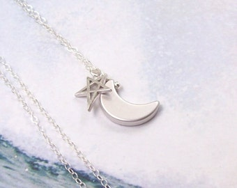 Crescent Moon Necklace, Moon and Star Necklace, sterling silver, rhodium, open, minimal, simple, matte, summer, astrology