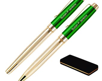 Dayspring Pens - Personalized Braxton 18KT Gold Plated Ballpoint and Rollerball Pen Set - Green. Custom Engraved Fast.
