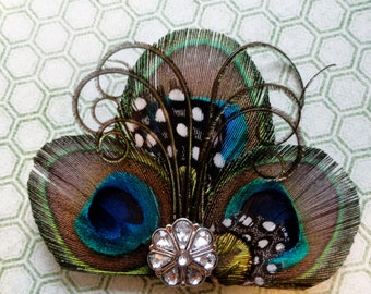 EMILY II Peacock Feather Hair Clip, Feather Fascinator