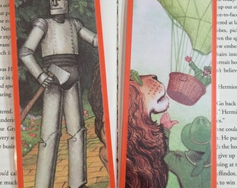 The Wizard of Oz Bookmarks featuring the Wizard, the tin man, and the cowardly lion from the Dover Illustrated book The Wizard of Oz