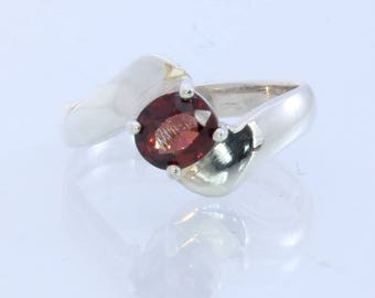 Burma Orange Red Spinel Handmade 925 Silver Ladies Solitaire Ring size 7