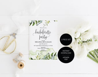 Greenery Watercolor Bachelorette Party Invite,Bride to Be,Itinerary,Printable Invitation,Instant Download,Printable Wedding - Melissa