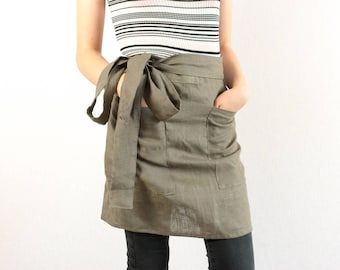 Natural linen Restaurant apron flax Cafe barista work apron with pockets Brown aprons