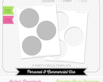 "4"" Party Circle Template - INSTANT DOWNLOAD - PRINTABLE - diy party printables"