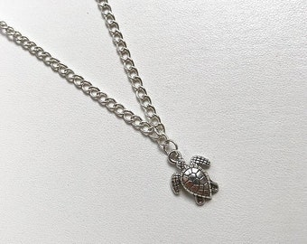 Handmade Silver Turtle Necklace Pendant