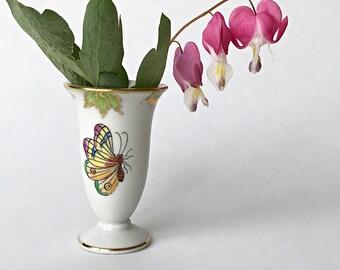 Miniature Vase Herend Porcelain Bud Vase Queen Victoria Floral Butterfly