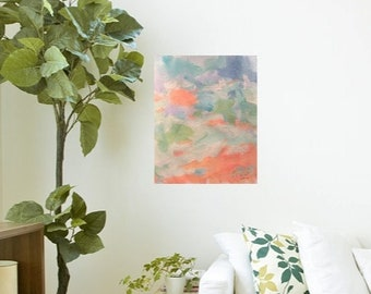 Peach abstract expressionist  painting, sea and ocean  art,  colors, designs, home interior decor, painting, RussPotakArtist