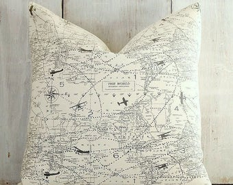 Vintage Airplane Pillow Cover - World Map Pillow - Black and Natural - Black Ivory - Industrial - Cottage - Boys room