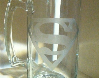 Glass Etched Beer Mug (Superman)