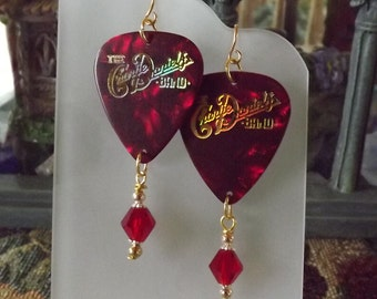 Red and Gold Charlie Daniels Band Earrings