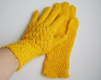 Hand Knitted Gloves - Yellow