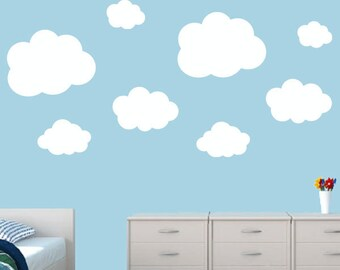 Clouds Wall Decal Set (8) - nursery clouds - Kids Wall Decals - Puffy Clouds Decals