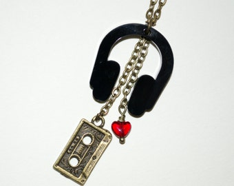 Headphones Necklace, DJ Jewelry, Mix Tape Necklace, Music Lover, Quirky Jewelry, Headphones Pendant, Mixed Media Necklace, Music Necklace