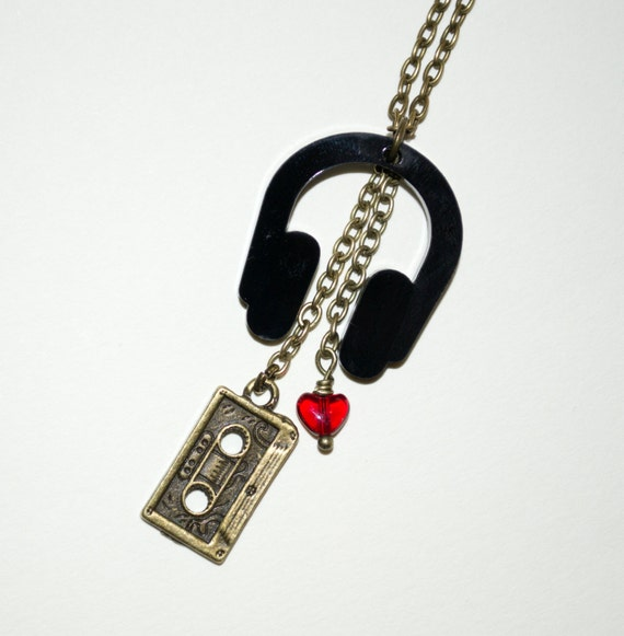 Headphones Necklace, DJ Jewelry, Mix Tape Necklace, Music Lover, Quirky Jewelry, Headphones Pendant, Mixed Media Necklace, Music Necklace